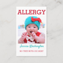 Custom Photo Kids Allergy Alert ICOE Warning Business Card