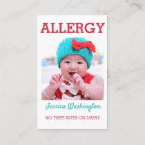 Custom Photo Kids Allergy Alert ICOE Warning Business Card