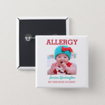 Custom Photo Kids Allergy Alert ICOE Warning Button