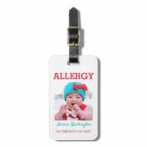Custom Photo Kids Food Allergy Alert ICOE Warning Bag Tag