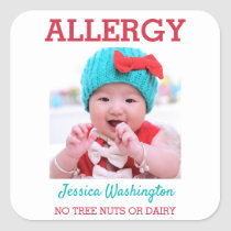 Custom Photo Kids Food Allergy Alert ICOE Warning Square Sticker