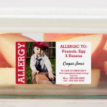 Custom Photo Kids Food Allergy Alert Kids' Labels
