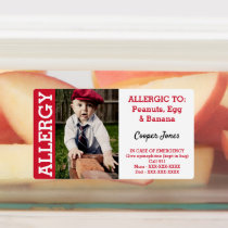 Custom Photo Kids Food Allergy Alert Kids' Labels
