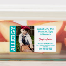 Custom Photo Kids Food Allergy Alert Teal Kids' Labels