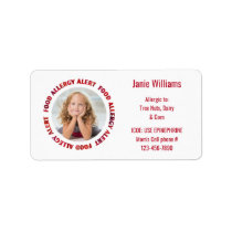 Custom Photo Kids Food Allergy Medical Alert Label