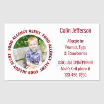 Custom Photo Kids Food Allergy Medical Alert Rectangular Sticker