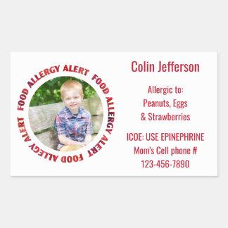 Custom Photo Kids Food Allergy Medical Alert Rectangular Sticker