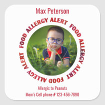 Custom Photo Kids Food Allergy Medical Alert Square Sticker