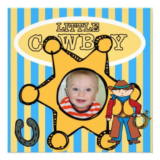 Custom Photo Little Cowboy Invitation