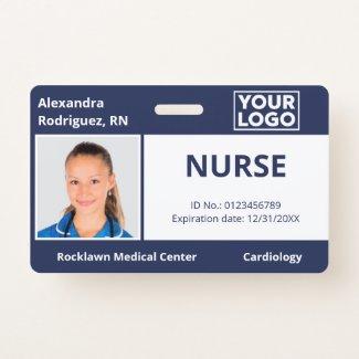 Custom Photo Logo Navy Blue Medical Employee ID Badge