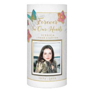 Custom Photo Memorial Butterfly Floral Candle