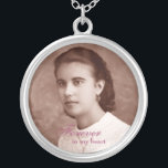 "Custom Photo Memorial Keepsake Silver Plated Necklace<br><div class=""desc"">Customizable photo keepsake silver necklace. Very easy to change photo online. Text color,  font and size can be changed by clicking the customize link.</div>"