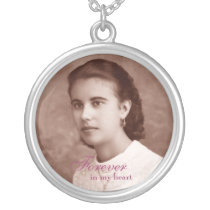 Custom Photo Memorial Keepsake Silver Plated Necklace