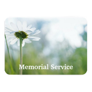 Custom Photo Memorial Service Invite White Daisy