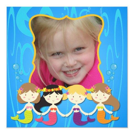 "Custom Photo Mermaid Birthday Invitation 5.25"" Square Invitation Card"