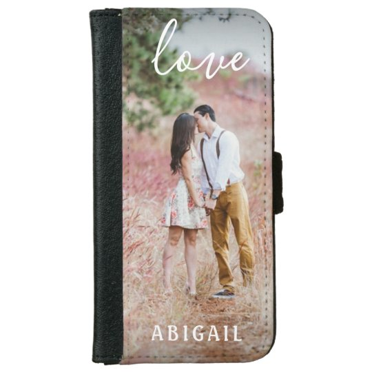 Custom Photo Modern Script LOVE Minimalist Girly iPhone Wallet Case