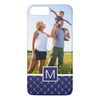 Custom Photo & Monogram Anchor pattern iPhone 8 Plus/7 Plus Case