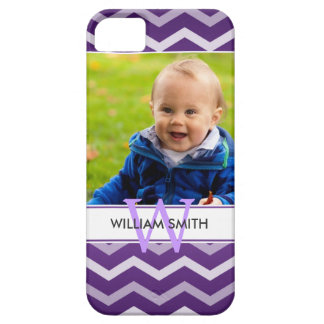 Custom Photo & Monogram Chevron Pattern Purple iPhone SE/5/5s Case
