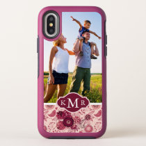 Custom Photo & Monogram Floral pattern with birds OtterBox Symmetry iPhone X Case