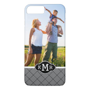 Custom Photo & Monogram Geometric checked texture iPhone 8 Plus/7 Plus Case