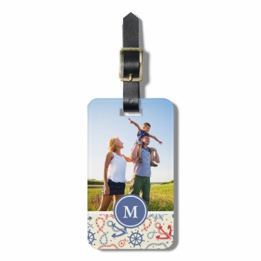 Custom Photo & Monogram Red and Navy with Anchor Luggage Tag
