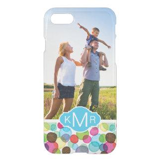Custom Photo & Monogram Round bubbles pattern 2 iPhone 7 Case