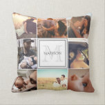 "Custom Photo Montage Throw Pillow<br><div class=""desc"">Personalized photo mosaic and monogram</div>"