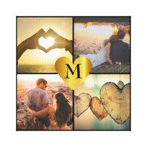 Custom photo montage x4 with heart name monogram canvas print