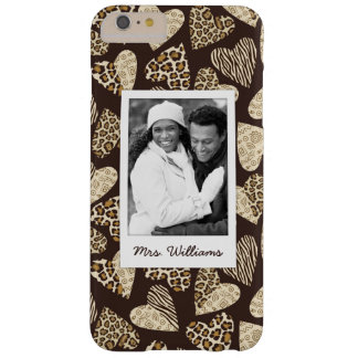 Custom Photo & Name Animal skin with hearts Barely There iPhone 6 Plus Case