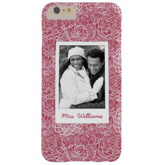 Custom Photo & Name Blue lace flowers pattern Barely There iPhone 6 Plus Case