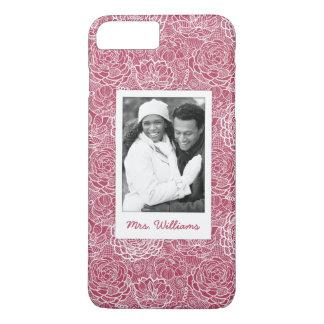 Custom Photo & Name Blue lace flowers pattern iPhone 7 Plus Case