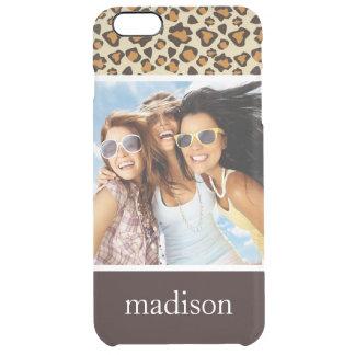 Custom Photo & Name Cheetah skin pattern Clear iPhone 6 Plus Case