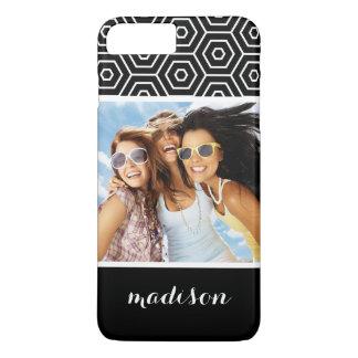 Custom Photo & Name Hexagonal geometric pattern iPhone 7 Plus Case