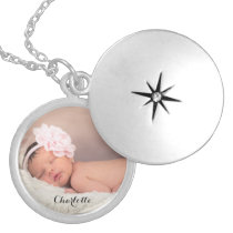 Custom, photo, name, locket, personalized silver plated necklace