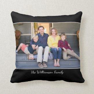 Custom Photo Name Modern Black Border Throw Pillow