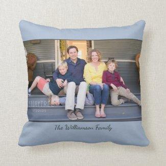 Custom Photo Name Modern Light Blue Border Throw Pillow