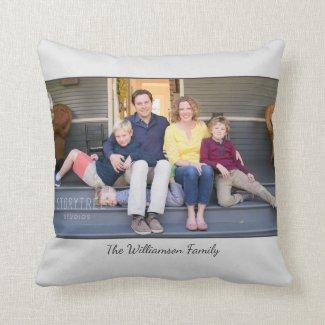 Custom Photo Name Modern Light Grey Border Throw Pillow
