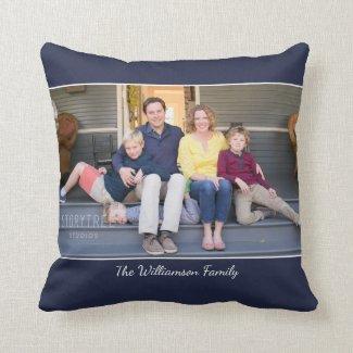 Custom Photo Name Modern Navy Blue Border Throw Pillow
