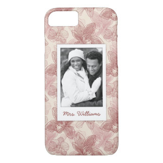 Custom Photo & Name Orchid Engraving Pattern iPhone 8/7 Case