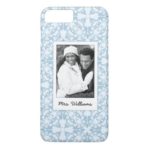 Custom Photo & Name Pale Blue Damask Phone Case