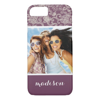 Custom Photo & Name Retro pattern iPhone 7 Case