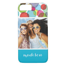 Custom Photo & Name Round bubbles kids pattern 2 iPhone 8/7 Case
