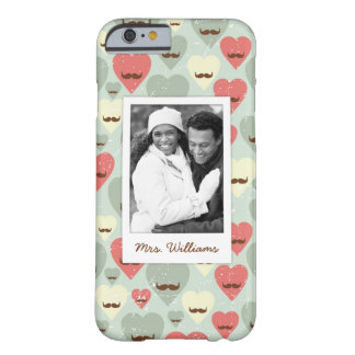 Custom Photo & Name Valentine heart and mustache Barely There iPhone 6 Case