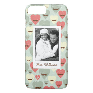 Custom Photo & Name Valentine heart and mustache iPhone 8 Plus/7 Plus Case