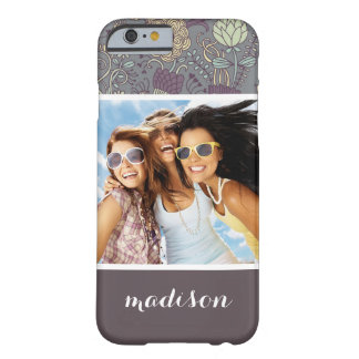 Custom Photo & Name Vintage Wallpaper Pattern Barely There iPhone 6 Case