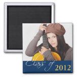 Custom photo navy blue class of school graduation 2 inch square magnet
