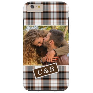 Custom Photo On Classic Chic Plaid Tartan Pattern Tough iPhone 6 Plus Case