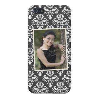 Custom photo on elegant black and white damask iPhone SE/5/5s cover