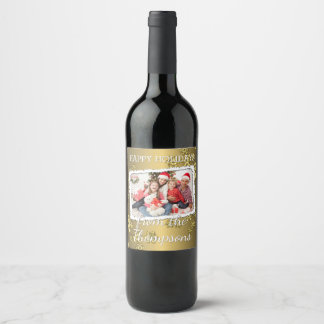 Custom Photo On Faux Gold Snowflakes Pattern Wine Label