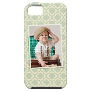 Custom photo on seafoam quatrefoil background iPhone 5 cases
